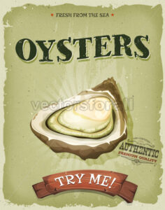 Grunge And Vintage Oyster Shell Poster - Vectorsforall