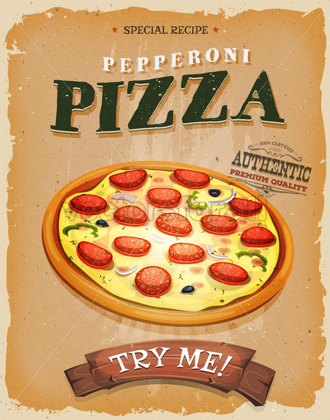 Grunge And Vintage Pepperoni Pizza Poster - Vectorsforall