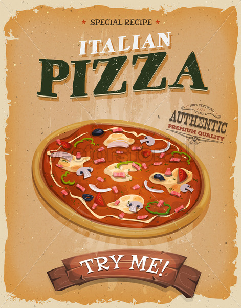 Grunge And Vintage Pizzeria Poster - Vectorsforall