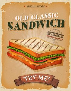 Grunge And Vintage Sandwich Poster - Vectorsforall