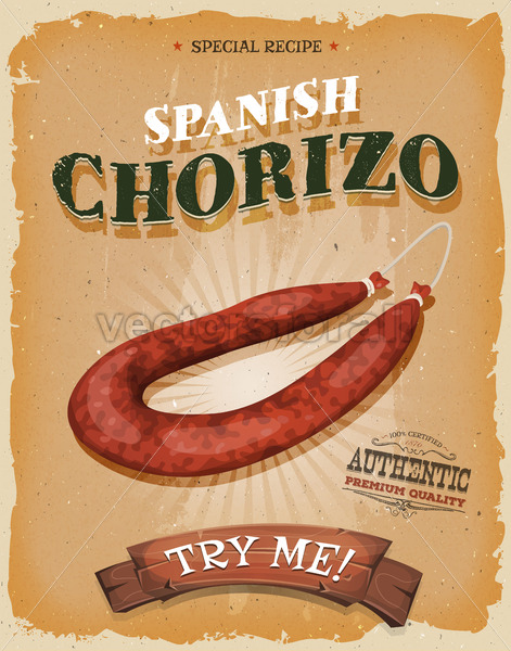 Grunge And Vintage Spanish Chorizo Poster - Vectorsforall