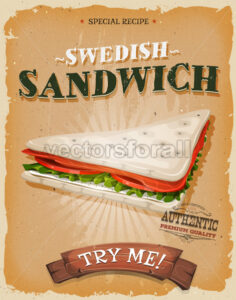 Grunge And Vintage Swedish Sandwich Poster - Vectorsforall