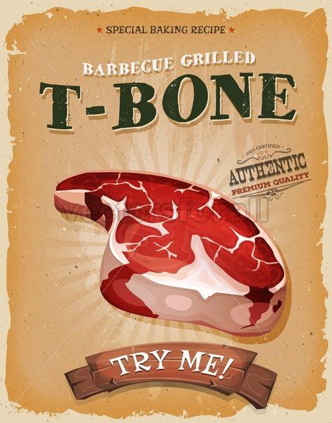 Grunge And Vintage T-Bone Steak Poster - Vectorsforall