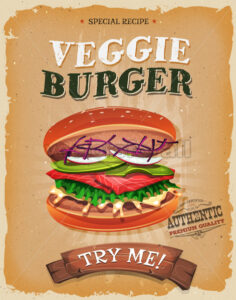 Grunge And Vintage Vegetarian Burger Poster - Vectorsforall