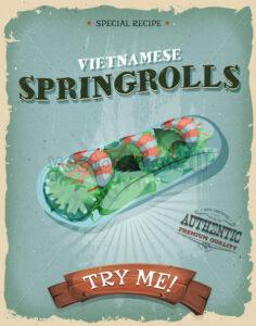 Grunge And Vintage Vietnamese Spring rolls Poster - Vectorsforall