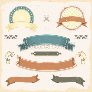 Grunge Banners And Ribbons Set - Vectorsforall