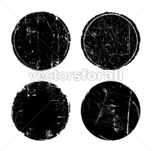 Grunge Textured Round Seal Stamps - Vectorsforall