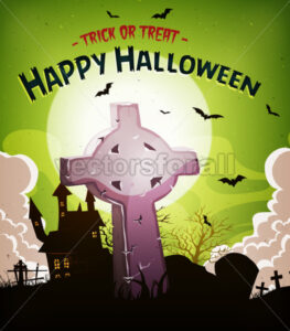 Halloween Holidays Background With Christian Tombstone - Vectorsforall