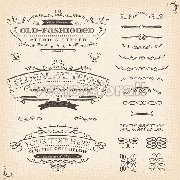 Hand Drawn Floral Patterns And Frame - Vectorsforall