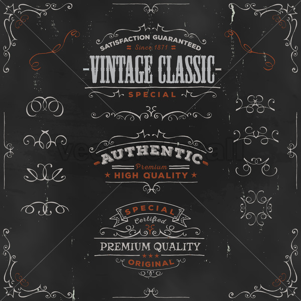 Hand Drawn Vintage Banners And Ribbons On Chalkboard - Vectorsforall