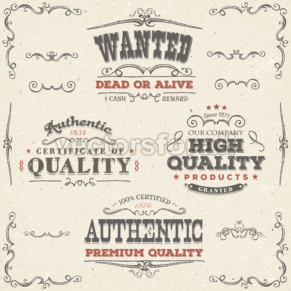 Hand Drawn Vintage Quality Banners And Labels - Vectorsforall
