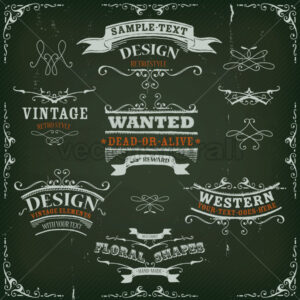 Hand Drawn Western Banners And Ribbons - Vectorsforall
