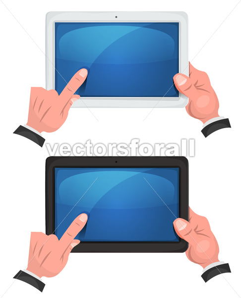Hands Using Touch Screen On Digital Tablet - Vectorsforall
