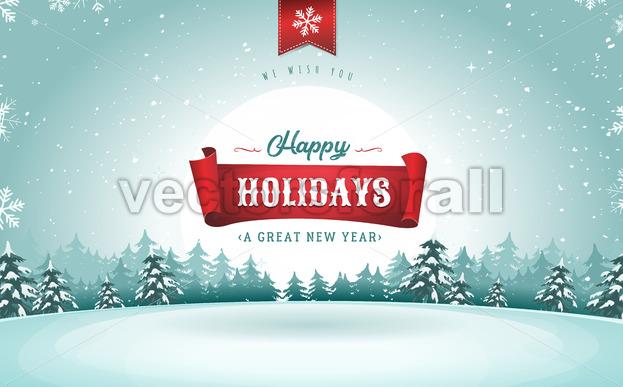 Happy Holidays Greeting Card - Vectorsforall