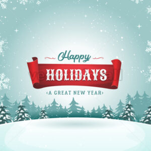 Happy Holidays Greeting Card And Christmas Landscape - Vectorsforall