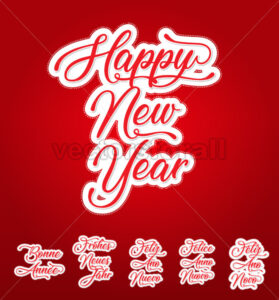 Happy New Year Lettering Card In Multilanguage - Vectorsforall