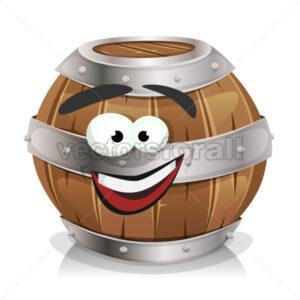 Happy Wood Barrel Character - Vectorsforall