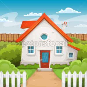 House Inside Garden - Vectorsforall