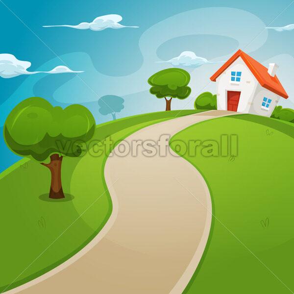 House Inside Green Fields - Vectorsforall