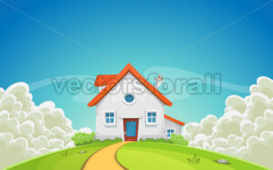 House Inside Nature Landscape With Clouds - Vectorsforall