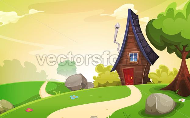 House Inside Spring Landscape - Vectorsforall