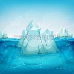 Iceberg Inside Ocean Landscape - Vectorsforall