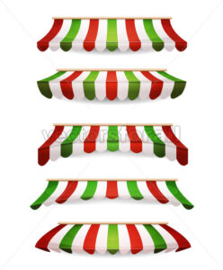 Italian Striped Awnings For Market Store - Vectorsforall
