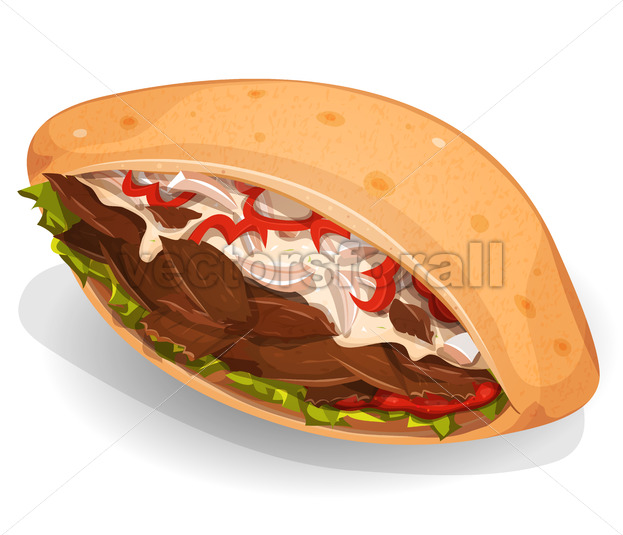 Kebab Sandwich Icon - Vectorsforall