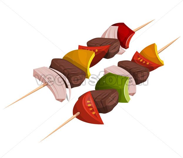 Kebab Skewers Icons - Vectorsforall