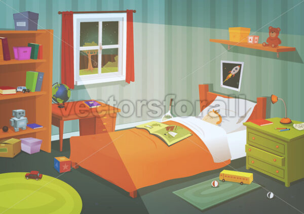 Kid Or Teenager Bedroom In The Moonlight - Vectorsforall