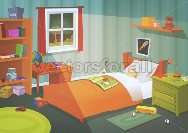 Kid Or Teenager Bedroom In The Moonlight - Vectorsforall