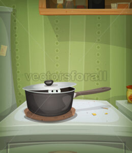 Kitchen Scene, Mouse Inside Stove - Vectorsforall