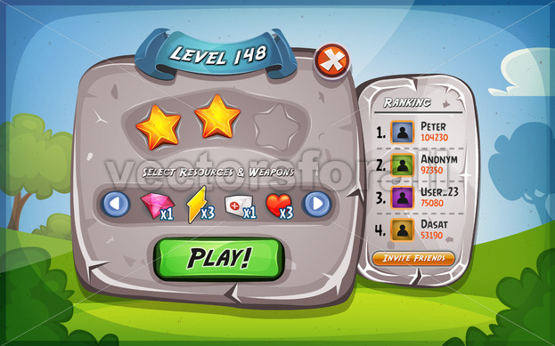 Level Panel With Options For Ui Game - Vectorsforall