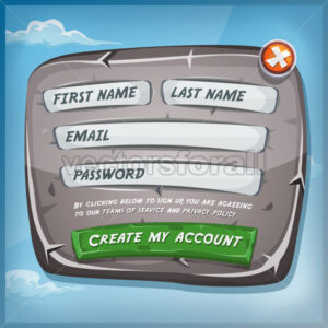 Login Form On Stone Panel For Ui Game - Vectorsforall