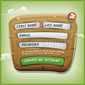 Login Form On Wood Panel For Ui Game - Vectorsforall