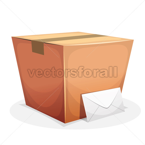 Mail Delivery With Cardboard And Envelope - Vectorsforall