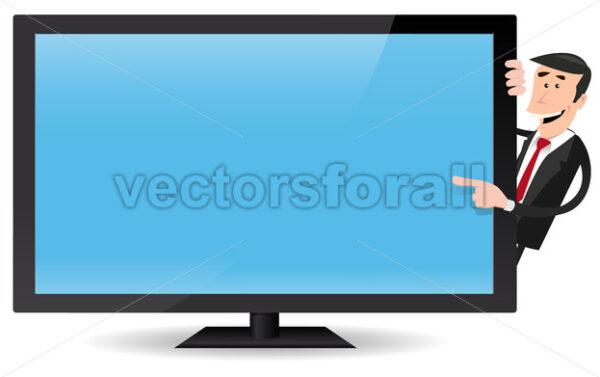 Man Pointing Flat Screen TV - Vectorsforall