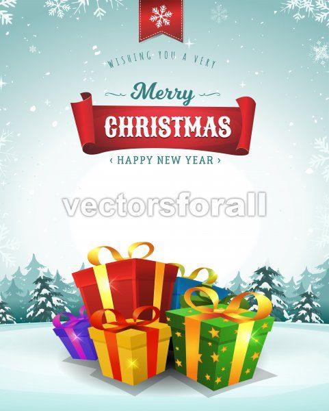 Merry Christmas Holidays Greeting Card - Vectorsforall