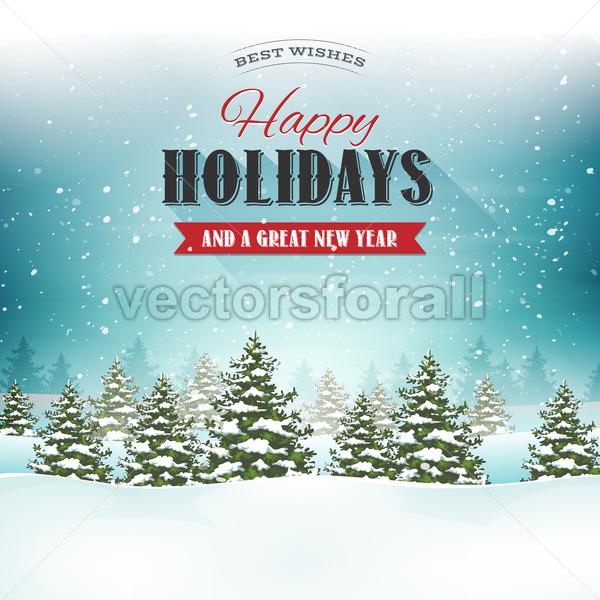 Merry Christmas Landscape Postcard - Vectorsforall