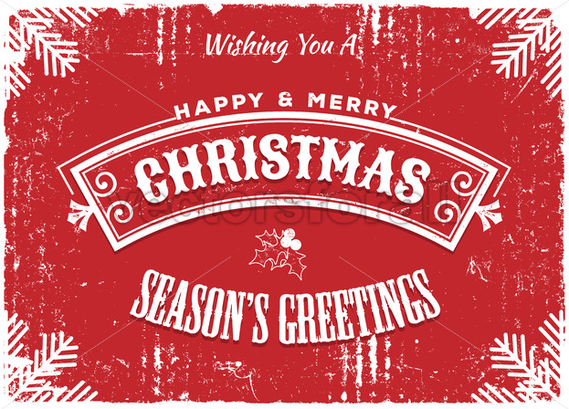 Merry Christmas Red Background - Vectorsforall