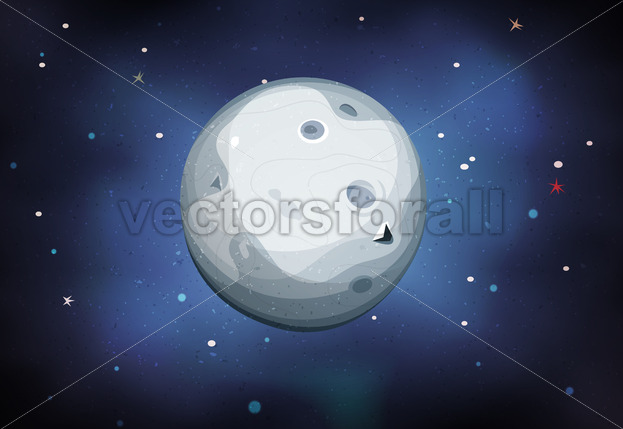 Moon Planet On Space Background - Vectorsforall