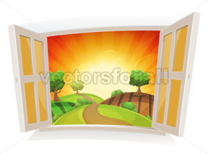 Open Window On A Summer Rural Landscape - Vectorsforall