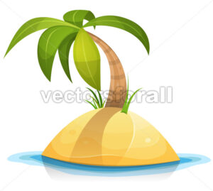 Palm Tree On Tropical Desert Island - Vectorsforall