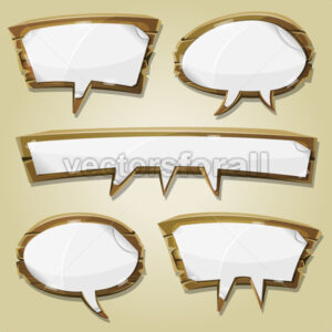 Paper Signs On Wood Speech Bubbles Set - Vectorsforall