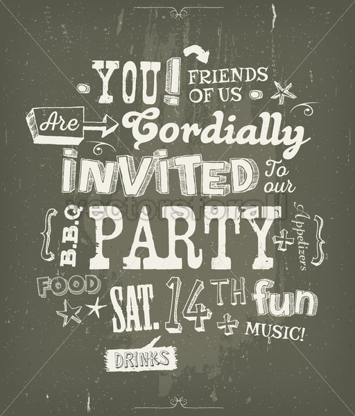 Party Invitation Poster On Chalkboard Background - Vectorsforall