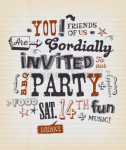 Party Invitation Poster On School Paper - Vectorsforall