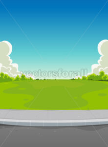 Pavement And Green Park Background - Vectorsforall