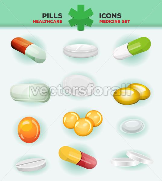 Pills, Capsules And Medicine Tablet Icons - Vectorsforall