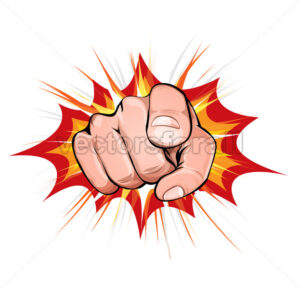 Pointing Finger On Explosion Background - Vectorsforall