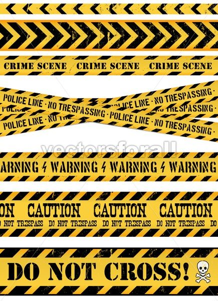 Police Line, Crime Scene And Warning Tapes - Vectorsforall